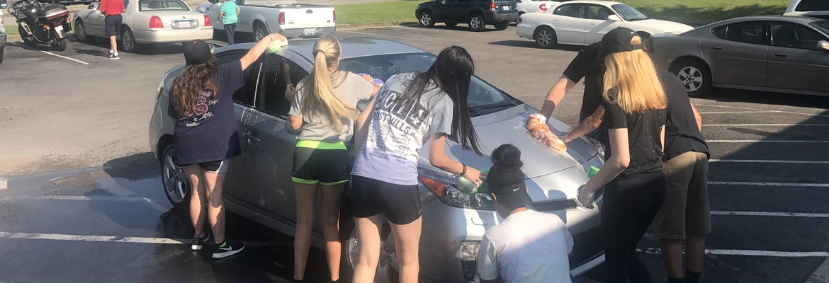 This summer the students took part in a car wash as a service project at the Senior Center.