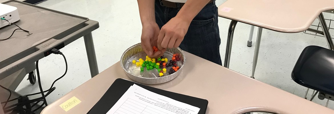 High school students used their knowledge of the scientific method to work through a lab that answered the question if Skittles bags are packaged randomly or by a machine.