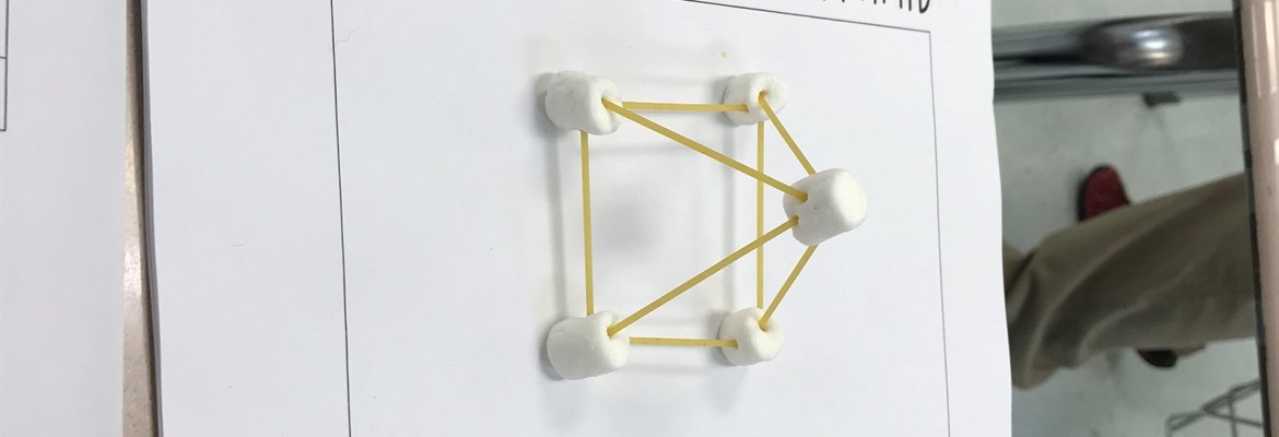 AEC Middle School Math students created 3D Figures out of spaghetti noodles and marshmallows to help show the number of vertices, edges, and faces the figures have.